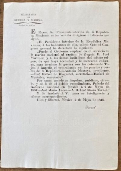 1836 NAVAL BLOCKADE OF THE TEXANS