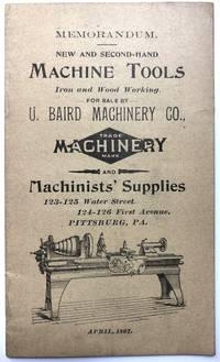 1897 Memorandum -- New and Second-Hand Machine Tools, Iron and Wood Working...and Machinists'...