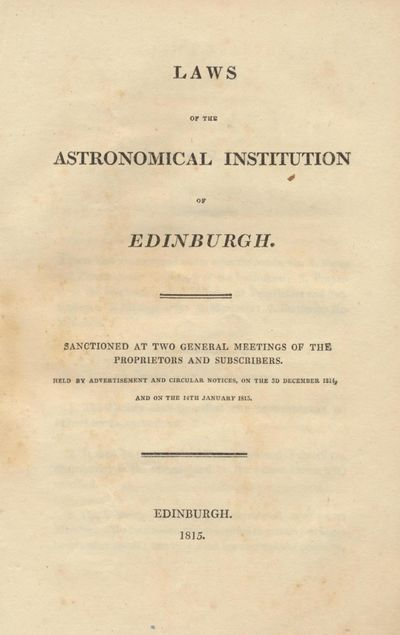 Laws of the Astronomical Institution...