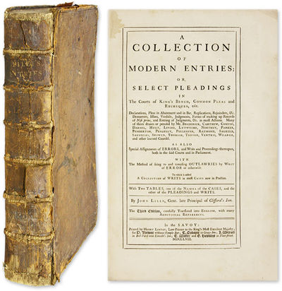 1758. London, 1758. 3d ed.. London, 1758. 3d ed. Lilly's Modern Entries Lilly, John . A Collection o...