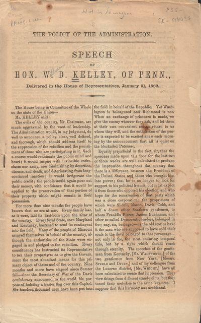 Washington, D. C.: Scammell & Co.. Good. 1862. Pamphlet. Self-wraps, staple bound. Last leaf is deta...