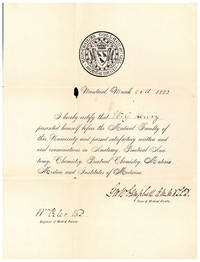 McGill University Medical Certificate for W.G. [William George] Henry, signed by Osler