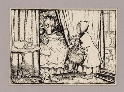: , 1933. A Wonderful Pen and Ink Drawing from Arthur Rackham's Little Red Riding Hood... RACKHAM, A...