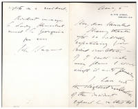 Autograph letter signed to George Henschel