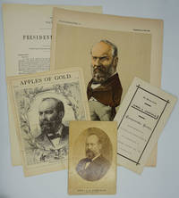"""image of """"Puckographs I, James A. Garfield"""", with cabinet card portrait and 3 other items"""