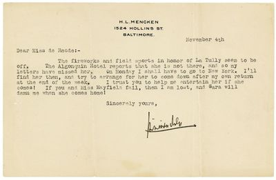 Baltimore & New York, 1937. The collection is comprised as follows: 1. Typed note signed on Mencken'...