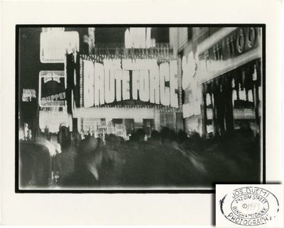 Binghamton, NY: Joseph Buemi, 1947. Experimental, vintage art photograph of a marquee display from t...