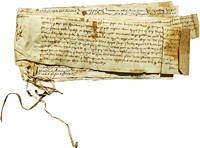 Six Manuscript Land Grants on Vellum, Hand Stitched Together,  Spaning a Century or so, and Providing One Family's History of Inheritable Land Rights During Norfolk's Feudal Era.