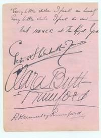 "Fine large signature ""Clara Butt Rumford"", (Dame Clara Ellen, 1873-1936, Contralto)"