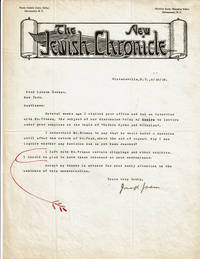 image of TWO TYPED LETTERS SIGNED BY ZIONIST AND FORT WORTH, TEXAS RABBI JOSEPH JASIN.