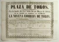 Plaza de Toros. En la tarde del Lunes 30 de Mayo dse 1842 (si el tiempo lo permite) se verificara La Novena Corrida de Toros..