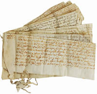 Seventeen Manuscript Land Grants, Hand Stitched Together, on Vellum from the Reign of Elizabeth I, Concerning the Land Rights of a Thomas Wadelowe.
