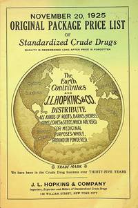 November 20, 1925 Original Package Price list of Standardized Crude Drugs