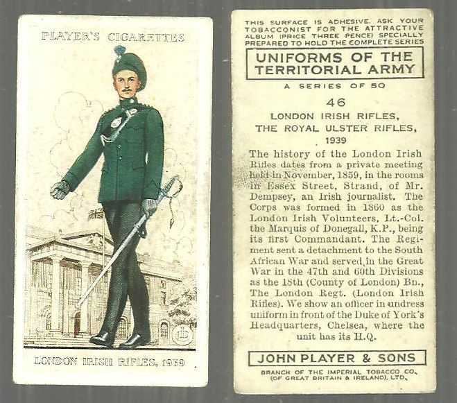 VINTAGE PLAYER'S CIGARETTE CARD WITH LONDON IRISH RIFLES, Advertisement