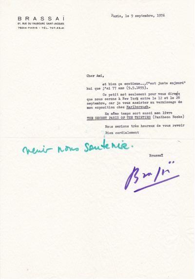 Letter from Brassai about his new...
