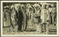 """image of """"Pres. Coolidge After Becoming Chief Leading Eagle, Days of '76, Deadwood, S.D."""" Real picture postcard"""