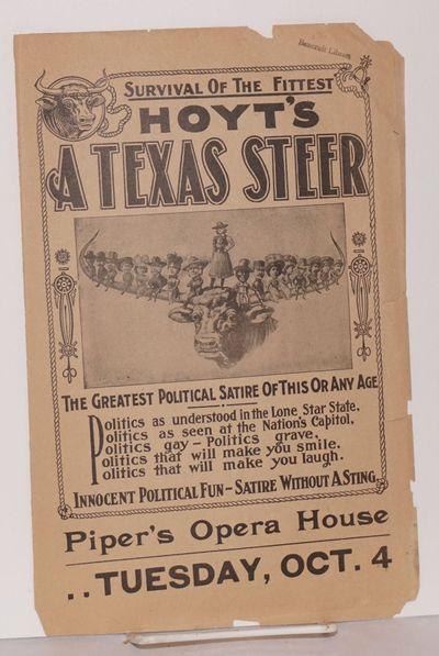 Cincinnati, Ohio: Piper's Opera House, 1904. 4p., 14x11 inches folded, illus., some chipping on edge...