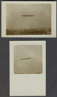 image of Pair of vernacular WWI Dirigible real picture postcards