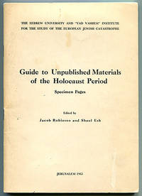 Guide to Unpublished Materials of the Holocaust Period: Specimen Pages