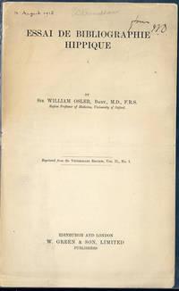 Essai de bibliographie hippique. Offprint. Presentation copy