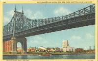 Queensborough Bridge and New York Hospital unused linen Postcard