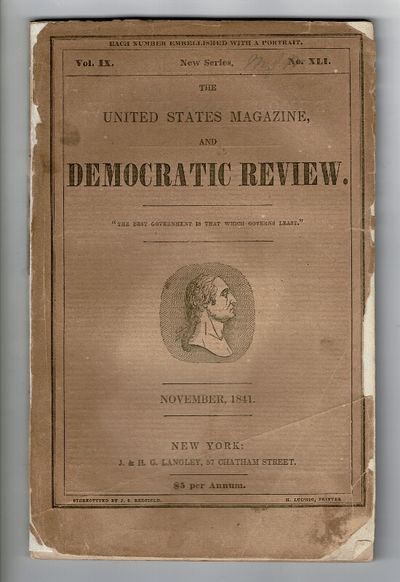 New York: J. &. H. G. Langley, November, 1841. First edition of this story, 8vo, pp. , 412-512; engr...