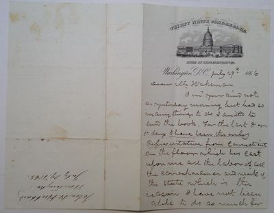 Washington, D.C., 1866. unbound. 3 pages, each two-page fold-out measuring 7.75 x 10 inches, Washing...