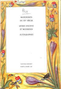 Vente 29 Mars 1985. Manuscrits Du XVe Siècle, Livres Anciens et Modernes,  autographes.