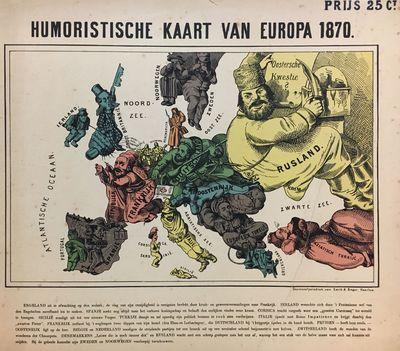 Haarlem: Stoomsnelpersdruk van Emrik & Binger, 1870. Anthropomorphic Map. Separate issue broadside w...