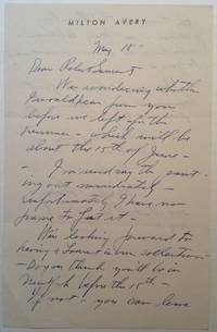 Autographed Letter Signed on personal letterhead by  Milton (1885 - 1965) AVERY - Signed - 1958 - from Argosy Book Store (SKU: 244450)