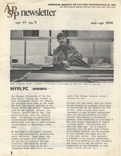 NY: American Society of Picture Professionals, 1975. First editions. 4tos., approximately 6 - 8 pp. ...