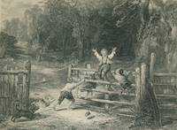image of Original 1870 Antique Engraving the Old Farm Gate by W. Collins