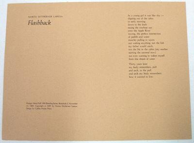 : Coffee House Press, 1985. Broadside, 9.5