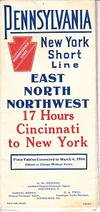 Pennsylvania New York Short Line - Through Cars and New Fast Time - East North Northwest.  Time Tables Corrected to March 4, 1906  MAP & TIME TABLES
