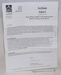 Action Alert September 1, 1995: Ryan White CARE Act reauthorization: battle continues in the House [leaflet/mailer]