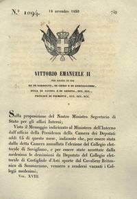 con cui si convocano i collegi elettorali di Savigliano e Costigliole d\'Asti per l\'elezione del nuovo deputato.