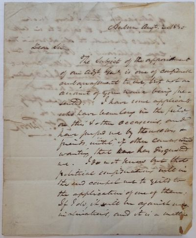 Auburn, NY, 1830. unbound. 2 pages (front and back), 9.75 x 8 inches, addressed on the back of an ac...