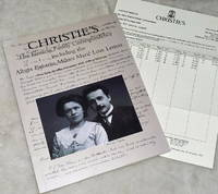The Einstein Family Correspondence including the Albert Einstein-Mileva Maric Love Letters [Christies: November 25, 1996]
