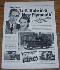 1941 PLYMOUTH RIDE IT AND YOU'LL BUY IT MAGAZINE ADVERTISMENT