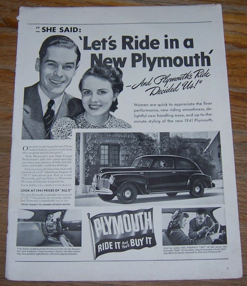 1941 PLYMOUTH RIDE IT AND YOU'LL BUY IT MAGAZINE ADVERTISMENT, Advertisement