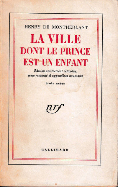 Paris: Gallimard, 1957. Paperback. Good. 282 pp. Light creases, tanning, and edge chips to the spine...