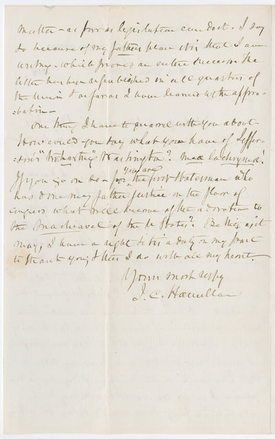 In this fascinating letter, Alexander Hamilton's son thanks U.S. Senator Jacob M. Howard for his rep...