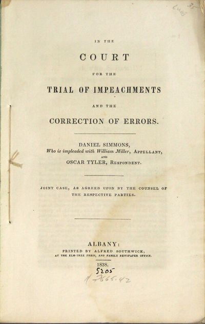 Albany: printed by Alfred Southwick, at the Elm-Tree Press, and Family Newspaper Office, 1838. 8vo, ...