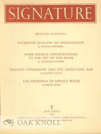 SIGNATURE, A QUADRIMESTRIAL OF TYPOGRAPHY AND GRAPHIC ARTS