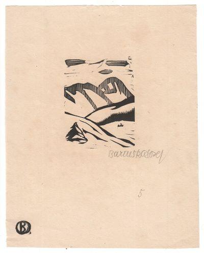 �eské Bud�jovice: ca. 1925?. Original woodcut print on thin laid paper, measuring 20.8 × ...