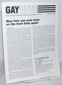 image of Gay Vote: news from the Harvey Milk Gay Democratic Club; February 1981; New Holy War Puts Club on the Front Lines Again