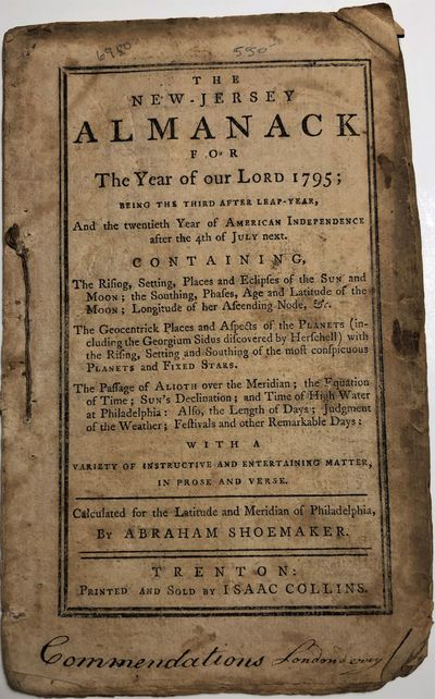 1794. THE NEW-JERSEY ALMANACK for the Year of our Lord 1795 .... By Abraham Shoemaker. Trenton: Isaa...