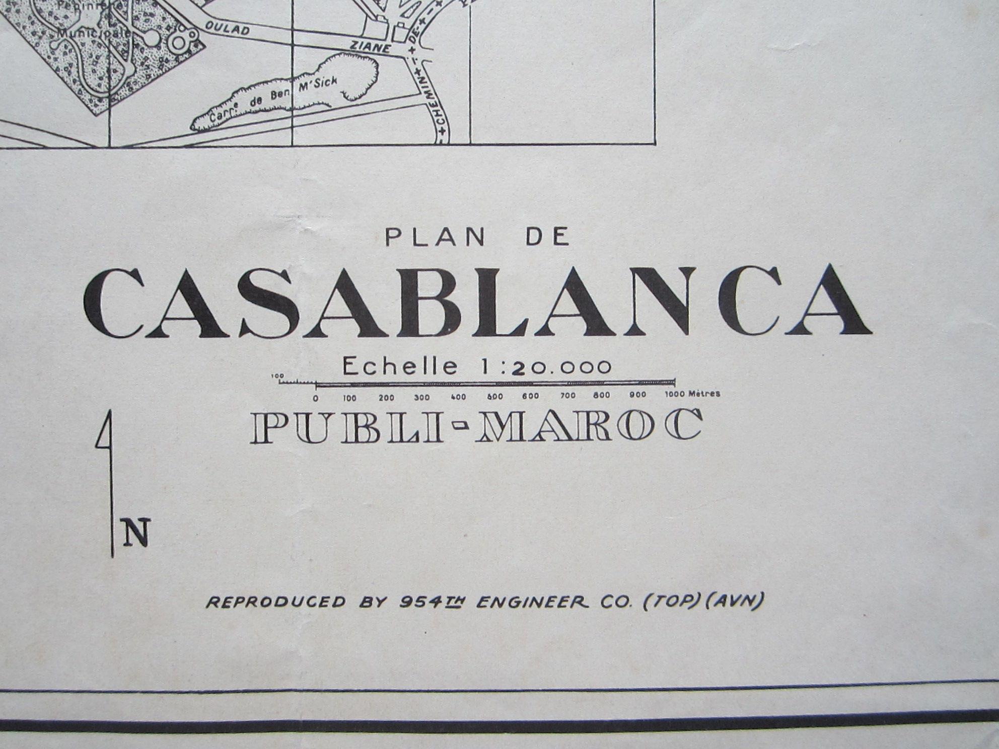 Plan de Casablanca … Reproduced by 954th Engineer Co. (TOP) (AVN) (photo 1)
