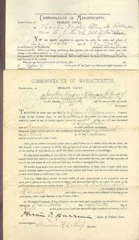 Documents Legal (Executor's Inventory, Letter's Testamentary with will of November 5, 1890): Barnstable, ss. Probate Court Commonwealth of Massachusetts, drafted and signed [by two appraisers, Justice of the Peace and Probate Judge] April 18-29, 1893