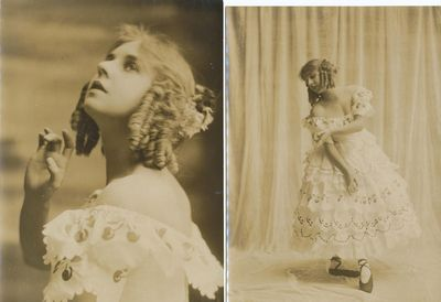 Lopokova, Lydia Vasilievna. as Columbine in Le Carnival. Wearing white lace dress with cherry design...